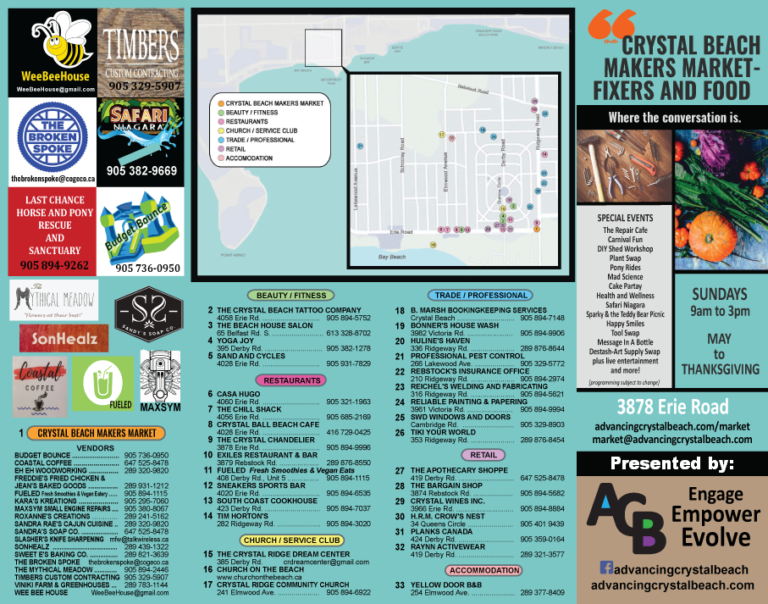 Brochure Map of Crystal Beach - Makers Market Presented by Advancing Crystal Beach and Local Businesses